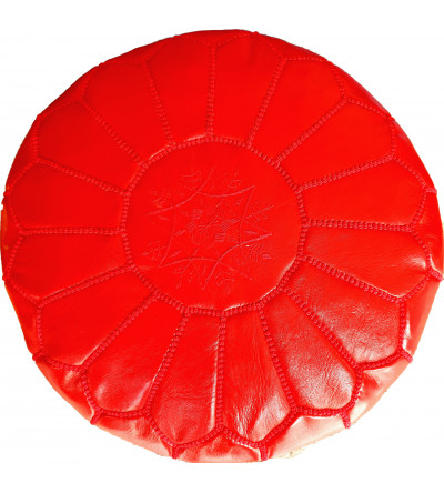 Embroidered Leather Pouf, Red