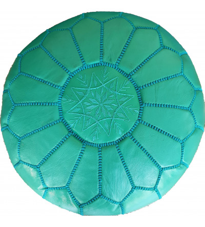 Embroidered Leather Pouf, Cyan