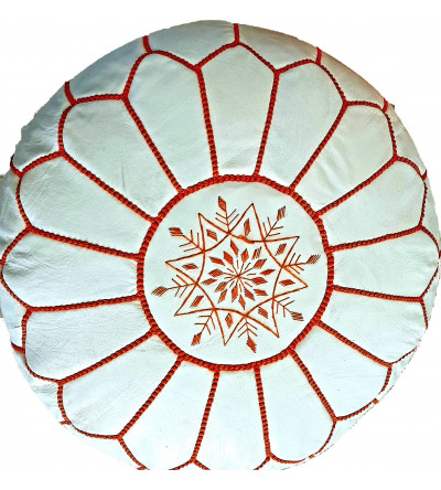 Embroidered Leather Pouf,...